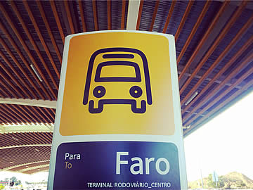 Bus stop signage at Faro airport