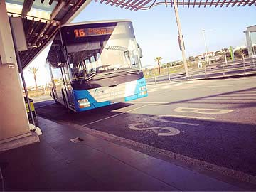City bus circuit 16 passing through Faro airport