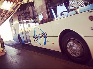 Public bus arriving at Faro airport