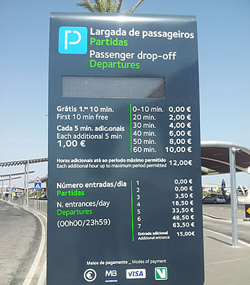 Kiss and Fly parking at Faro airport - rules and prices