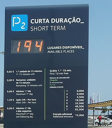 Park P2 at Faro airport - pricing